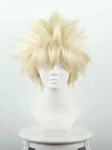 My Hero Academia Bakugou Katsuki Bege Fibra resistente ao calor 30cm Anime Wigs Halloween
