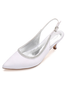 العاج أحذية الزفاف الساتان واشار تو الراين الراين سلينغباكس الانزلاق على أحذية الزفاف