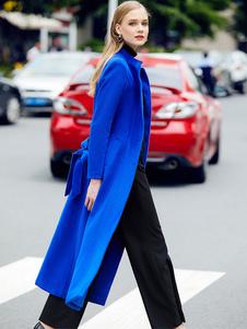 Red Winter Coat Long Sleeve Stand Collar Women's Wool Coats