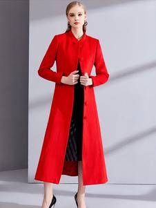 Красное пальто с длинным рукавом с длинным рукавом
