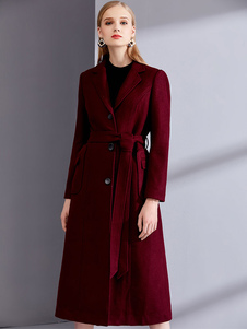 Burgundy Inverno Brasão Long Sleeve Notch Collar Wool Wrap Coats For Women