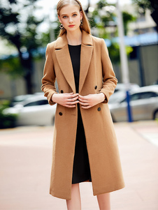 Casaco de ervilha feminina Light Tan Long Sleeve Notch Collar Wool Coats