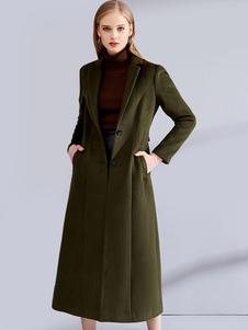 صياد معطف أخضر طويل الأكمام الشق طوق المرأة المعاطف الصوف