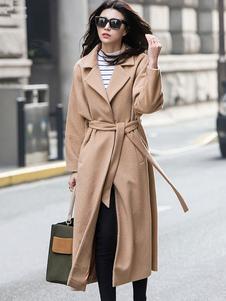 معطف الشتاء المرأة تان طويلة الأكمام الشق طوق الصوف التفاف المعاطف