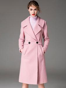 Pink Pea Coat Notch Collar de manga comprida Casacos de lã feminina