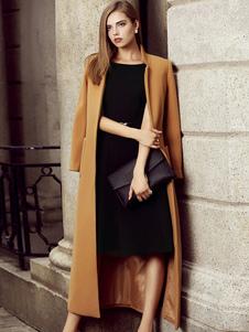 Женское зимнее пальто Светло-коричневый с длинным рукавом Подставка для воротника Slim Fit Split Wool Coats
