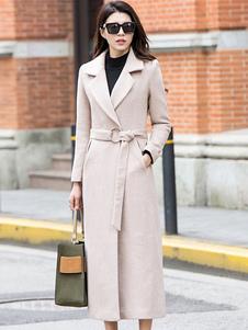 المرأة معطف عام2020طويل الأكمام مركز التهوية العاج معطف ملابس الشتاء