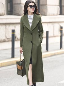 صياد معطف الأخضر المرأة طويلة الأكمام طوق طوق المعاطف الصوف 2020