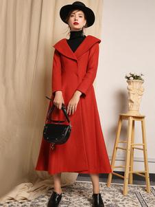 Casaco de inverno feminino, manga comprida, gola, colar, tijolo, vermelho, lã, casacos