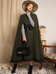 Mafors de senhora para ao ar livre chique & moderna de mistura de lã cor sólida verde tropa