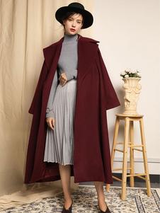 Cappotto borgogno monocolore chic & moderno in lana mista cintura