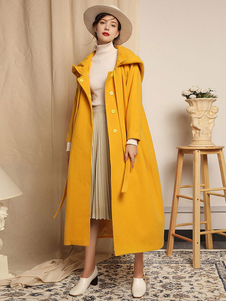 Women Coat Yellow Oversized  Long Sleeves Hooded Ribbon Tie Winter Cocoon Coat