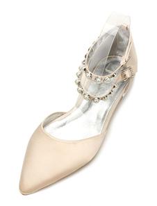 أحذية الزفاف الشمبانيا الساتان وأشار تو اللؤلؤ الكاحل حزام أحذية وصيفه الشرف