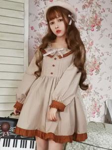 Vestido Lolita de Mangas para informal com mangas compridas Poliéster-algodão clássico & tradicional com dois tons cáqui