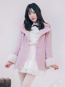 Chaqueta de Lolita estilo dulce con cascabel Encapuchado de dos tonos de Tweed