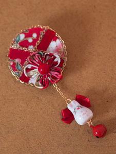 Lolita Acconciatura rossa di chimona 101% Argento con blocchi di colore casuale