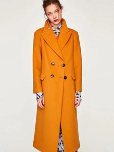 Abrigo de mezclada de lana con manga larga amarillo Cuello convertible Color liso con bolsillos estilo moderno