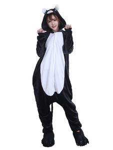 Kigurumi بيجامة القطة السوداء الفانيلا للجنسين الشتاء بذلة مع الأحذية هالوين زي هالوين