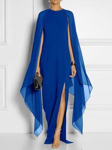 Vestiti Lunghi Blu Royal Abiti Lunghi smanicato in chiffon monocolore Vestiti Lunghi Eleganti spacco frontale con scollo tondo lunga Abiti