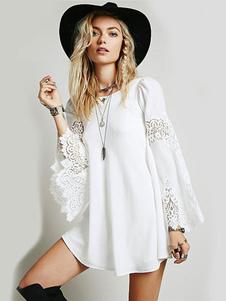 Vestido corto de chifón blanco con escote redondo con manga larga con manga acampanada Color liso de encaje estilo informal