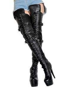 Sexy Thigh High Boots Feminino Black Platform Faux Fur Buckle Detalhe sobre o joelho Botas de salto alto