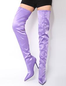 Женские штанишки сапоги Фиолетовый точечный палец скользят над сапогами на высоком каблуке
