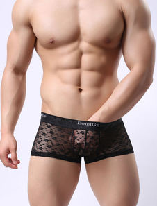Мужское сексуальное женское белье Black Lycra Spandex Semi Sheer Boxer Briefs