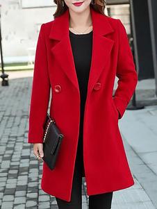 Red Wool Coat Notch Collar Long Sleeve Winter Coats For Women