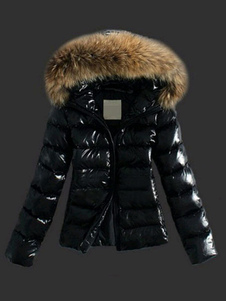 Women Jacket Black Puffer Coat Faux Fur Hooded Long Sleeves Quilted Jacket For Winter