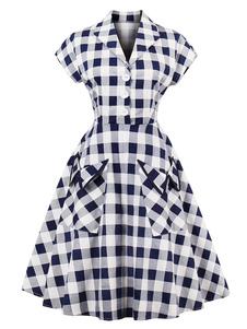 Vestido vintage decote V com bolsos com mangas curtas retro de algodão misturado Botão de Pressão com desenho quadrados