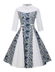 Vestido vintage de algodão misturado com botões No Built-in Bra com mangas de 3/4 Outono linha A com gola alta com desenho de flor estampado