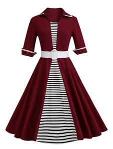 Vestido vintage gola larga com cinto com mangas de 1/2 retro de algodão misturado Outono Fecho com desenho de listrado