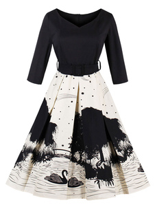Vestido vintage de algodão misturado No Built-in Bra com mangas de 3/4 Outono linha A retro decote V estampado