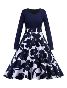 Vestido vintage de algodão misturado No Built-in Bra com mangas compridas Outono linha A retro gola redonda com desenho de flor estampado