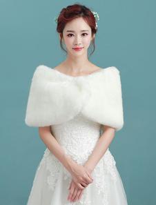 Xaile de Casamento de angora Inverno com cintura cor de marfim Acessórios