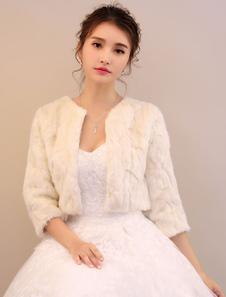 Beige Wedding Jacket Faux Fur Stole Long Sleeve Bridal Tops For Winter