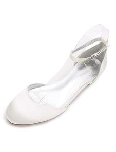 العاج وصيفه الشرف أحذية الساتان جولة تو حزام الكاحل أحذية الزفاف الزفاف للنساء
