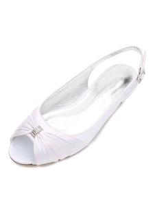 Zapatos de novia de seda y satén Zapatos de Fiesta Plana Zapatos blanco  Zapatos de boda de punter Peep Toe 1.5cm con pliegues