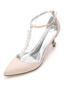 الشمبانيا أحذية الزفاف المرأة وأشار تو اللؤلؤ الكاحل حزام أحذية العروسة