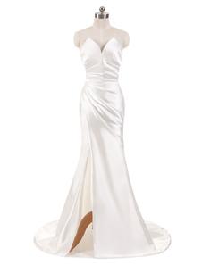 Свадебные платья из слоновой кости Свадебные платья без бретелек с длинными рукавами V V-образным вырезом без рукавов