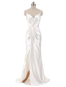 Платья для свадебных платьев без рукавов Русалка без рукавов Вечерние платья V Ремни для шеи Сплит Свадебное платье из слоновой кости с придворным поездом