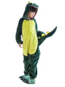 Disfraz Carnaval Disfraz de Kigurumi Niños para Navidad verde para niños de franela Dinosauria Carnaval