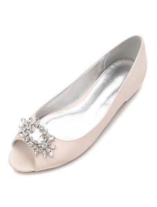 Zapatos de novia de seda y satén Zapatos de Fiesta Plana Zapatos Color champaña Zapatos de boda de punter Peep Toe 1.5cm con pedrería