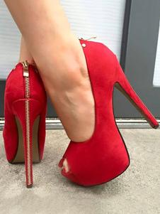 Zapatos de plataforma de tacón de stiletto estilo modernode punter Peep Toe Cuero con apariencia suave para mujer Zapatos de tacón alto