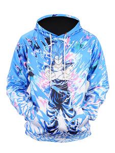 Hoodies com mangas compridas estampados azueis informaeis Primavera Normaeis Com Capuz para street wear tops