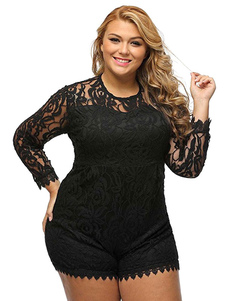 Plus Size Romper Lace Round Neck Long Sleeve Shaping Women's Playsuit