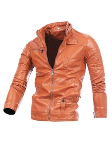 Giacca di Pelle da Uomo in cuoio poliuretano monocolore normale abbigliamento giornaliero con colletto alla coreana con Zip
