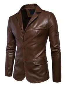 Giacca di Pelle da Uomo in cuoio poliuretano monocolore normale abbigliamento giornaliero con colletto con bottoni sul davanti