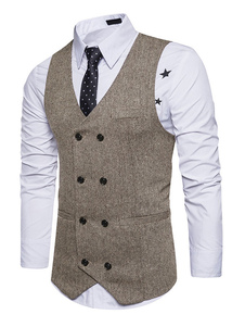 Haki Men Waistcoat V Шея Бизнес Повседневный двойной Breasted Regular Fit Tuxedo Vest