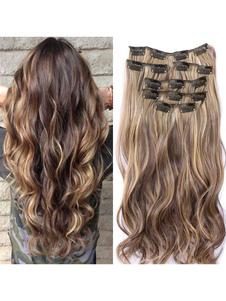 Extensões De Cabelo Sintético 2020 Tousled Full Volume Curls Long Hair Piece